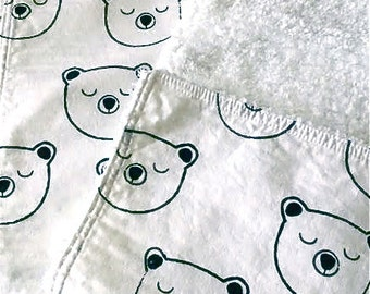 Modern Trendy Baby Burp Cloth Sleepy Bear  Black and White Cotton Fabric by Claudia Soria Cotton Chenille Baby Shower Gift Gender Neutral