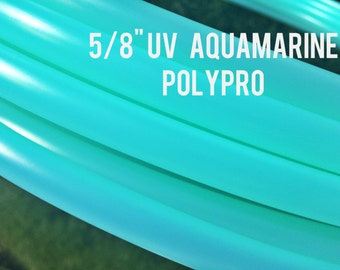 "UV Aquamarine 5/8""  POLYPRO Dance & Exercise Hula Hoop COLLAPSIBLE push buttonor minis -  teal blue"