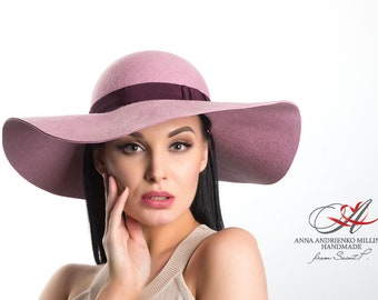 Women hat/Floppy pink hat with broad brim for women/Hat for horse racing/Gift for her/Ladies Hat/Hat for holidays/Evening hat/Sinamay hat