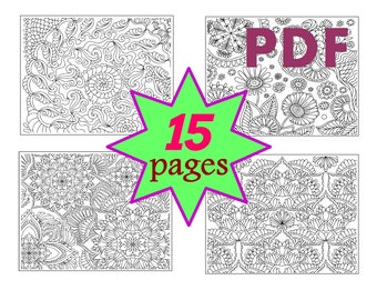 Coloring Book for adults 15 pages, Zentangle Mandala, Abstract, Printable PDF Letter, Quality Vector Graphics 6