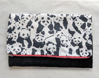Panda Foldover Clutch /  Magnetic Snap - Upcycled Black Corduroy