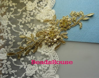 1 pc -Embroidered Hand Made Sew Beads - (Golden)