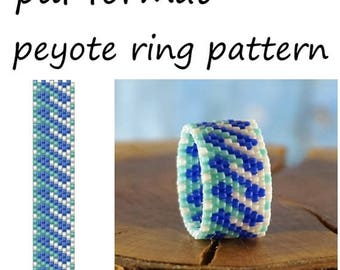 Peyote ring pattern Pdf format instant download digital pattern for beading Delica blue beaded ring tutorial Jewelry making bead pattern