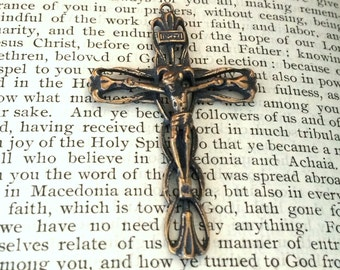 "Easter Lilies Crucifix  - 1 3/4"" - Bronze or Sterling Silver - Bronze Crucifix - Bronze Rosary Supplies - Silver Crucifix - Replica (C-1297)"