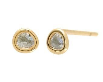 Diamond Slice Earrings, Diamond Slice Studs, Diamond Studs, Diamond Earrings, Small Diamond Earrings, Petite Diamond Gold Studs, Studs,NIXIN