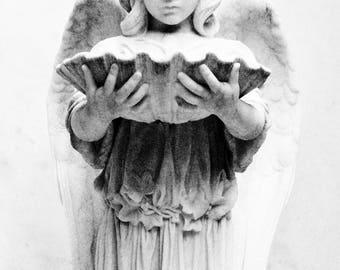 Black & White Angel Photograph, cemetery art, photograph, gothic, angel