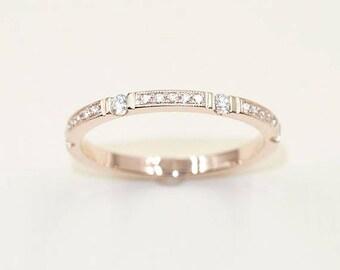Diamond Wedding band.3/4 Diamond Eternity Band for Women.Unique Diamond Wedding Ring.Milgrain Diamond Matching Band.Women's Wedding Band.