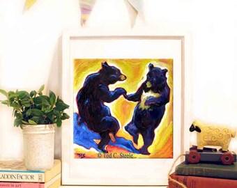 "Bear Print, Bear Painting, Bear Art Print, Nursery art, Kids wall art, ""Dancing Bears Print"",8x10"", from Original Painting by Tod C Steele"