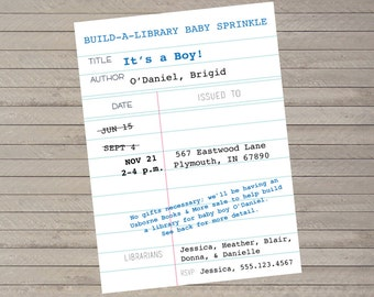 Build-A-Library Baby Shower Invitation -- Baby Book Shower -- Children's Book Theme -- Girl or Boy -- Customizable