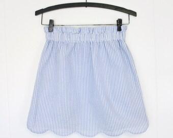 Seersucker 'Lilly' Scalloped Gathered Waist Ruffle Top Skirt