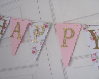 Birthday Banner, Happy Birthday Banner, Happy Birthday, Girl Banner 1st Birthday, Pink and Glitter Gold