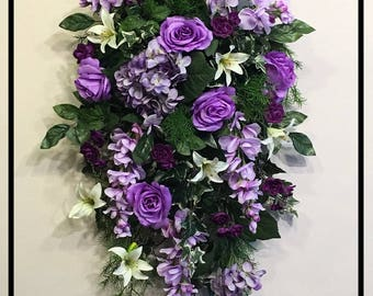 Spring Wreath, Easter Wreath Front Door Swag, Flower Door Swag, Spring Door Swag, Floral Door Swags, Spring Wreaths For Front Door, Purple
