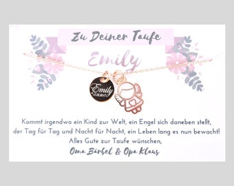 """Necklace """"Little angel"""" with engraving and personal card/925 silver/rose gold"""