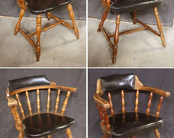 "Set 4 Vintage Antique ""Hale"" Wood Wooden Fabric Dining Side Chair Arm Armchair"