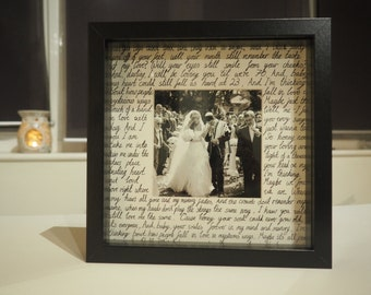 Any song or words made to order. Personalised wedding, anniversary, first dance lyrics, vows box frame. Perfect Mother's Day gift!