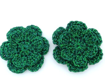 Christmas appliques, 2 green two-layer shiny crochet flowers, cardmaking, scrapbooking, appliques, handmade, sew on patches embellishments