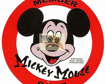 Mickey Mouse Club - Sticker -Decal -1950's