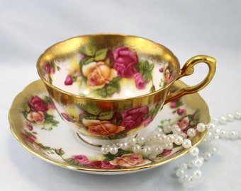 1  Reserved for MA, 2 for A. 2 for K.Royal Chelsea Duo, Golden Rose Pattern, Bone English China made in 1970s