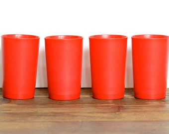 Tupperware: red tumblers, set of four