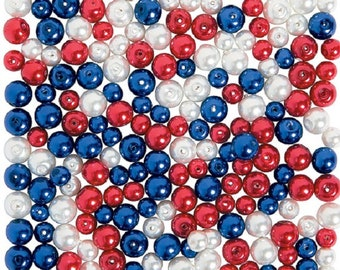 Patriotic Pearl Bead Assortment, 6mm - 8mm w/1mm hole, pack of 200