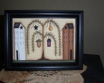 Saltbox House Primitive Framed Canvas-Handpainted