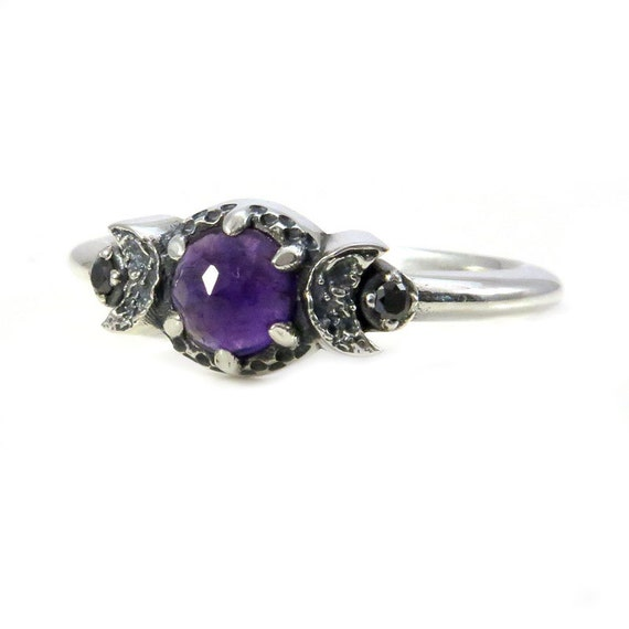 Amethyst Triple Moon Goddess Sterling Silver Moon Ring with Black Diamonds and Crescent Moons