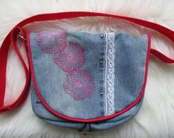 Small studded recycled denim Messenger bag