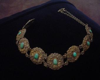 Rare Gorham Art Nouveau  Arts and Crafts Gilt Silver Turquoise Dog Collar Necklace