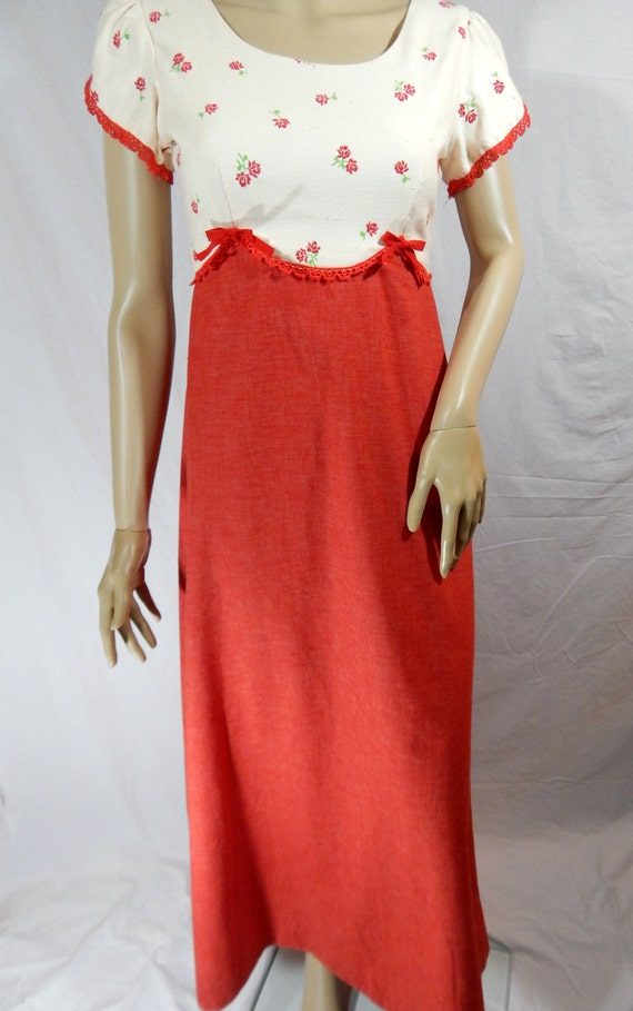 Hawaii of JUNE by DRESS Rose Granny Red BUG 1970's FqwRan8q