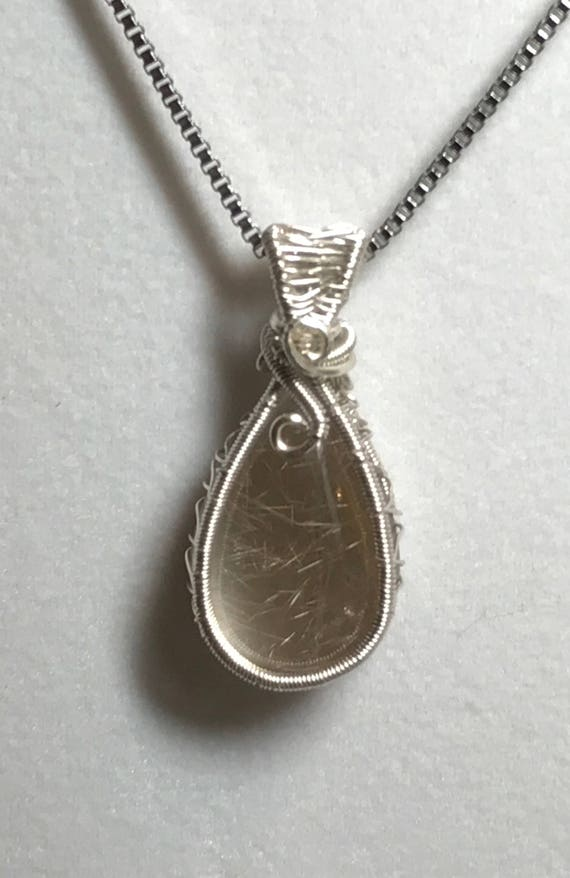 Natural Rutilated Quartz Wire Weave Pendant