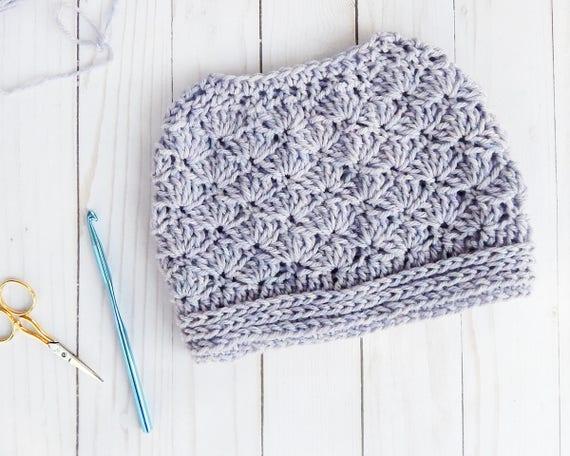 Crochet Hat Pattern Easy Crochet Pattern Messy Bun Beanie