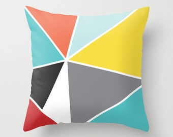 Geometric Pillow  - Triangles Pillow - Mid Century Decor - Triangles Throw Pillow - Yellow Blue Coral Black Grey - By Aldari Home