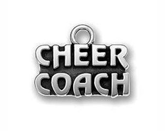 5 Silver Cheer Coach Charm 12x16mm by TIJC SP0551