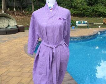 Monogrammed Waffle Kimono Short Robe Square Pattern - Personalized -  LAVENDER Wedding Bride Pool Spa Robe