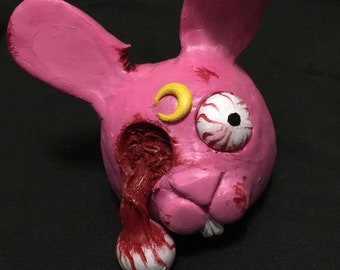 Creepy bunny sculpture- gory weird scary pastel goth horror rabbit head