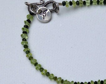 Green on green tourmaline and peridot necklace