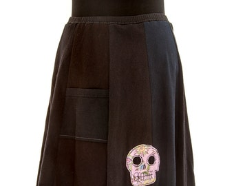 T-Skirt | upcycled, recycled black t-shirt skirt with skulls appliqué + pocket