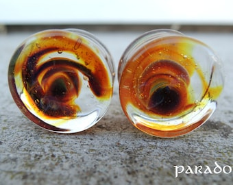 "Glass earplugs, Embers, 16mm (5/8""), sold by PAIR"