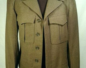 WWII Wool Waist Jacket Military Uniform Army Green Original Vintage Ike Short Cropped Hidden Button Epaulets Men's Size 36 Small Medium