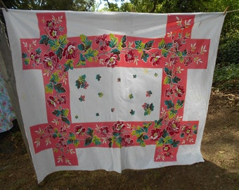 """Vintage tablecloth Pink floral cherries Made in USA rectangular 74"""" x 62"""" Italian kitchen 1960s Startex Starmont"""