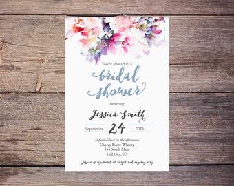 Watercolor Floral Bridal Shower Invitation Floral Wedding Shower Invite Modern Watercolor Flowers Wedding DiY Printable- Jessica