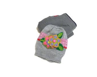 Gray flower baby hat, Toddler knit hat, New baby girl gift, Kids hat, Baby knit cap, Hat for child, Newborn props, Baby gilr gift, Baby cap