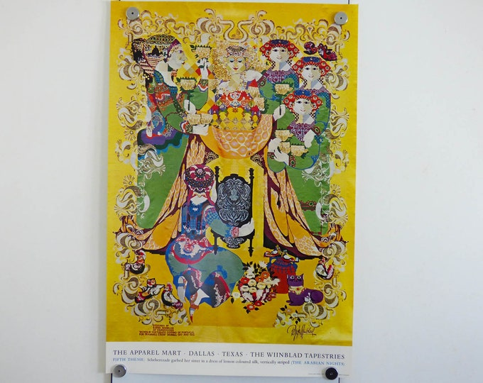 Bjorn Wiinblad Poster Arabian nights Fourth theme 1973 print