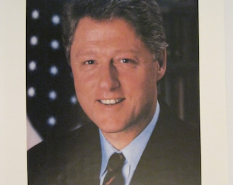 Bill Clinton Official White House Years As President of United States Official WH Photograph With His Official WH Signature Collectible
