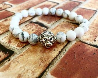 White Howlite Silver Lion Bracelet