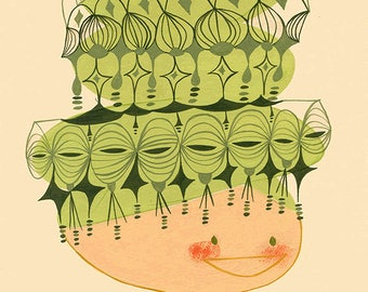 Fancy beehive.  Open edition print by Matte Stephens.