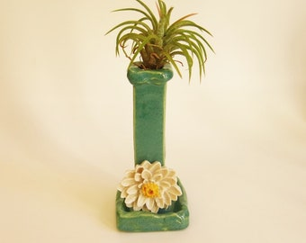 Ikebana Bud Vase Ceramic Pocket Miniature Planter Green and Gold