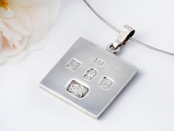 Vintage Sterling Silver Ingot Pendant | 1977 English Hallmarks | Unique Birthday Gift | Heavy Silver Ingot - 20 Inch Sterling Chain