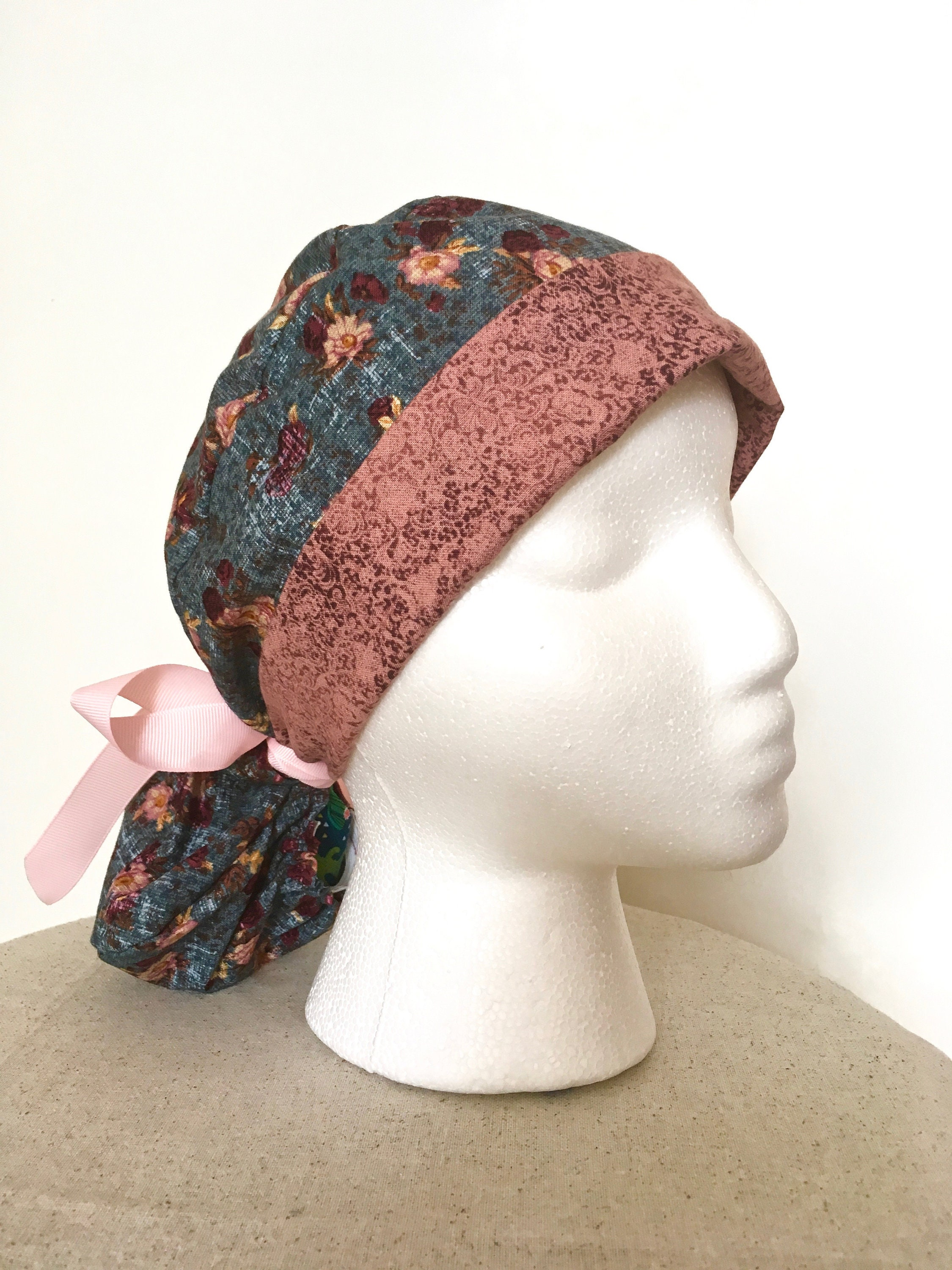 Vintage Floral Scrub Hat Two tone PonyTail Scrub Cap for 0b53efad51a