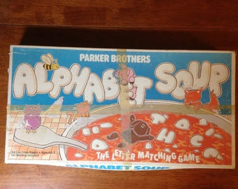 1981 Alphabet Soup Game was designed to help children just beginning to learn to spell, creating a whimsical educational experience